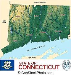 mapa, connecticut, condados