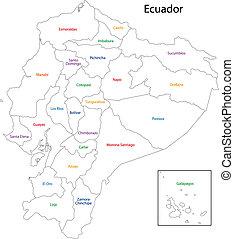 mapa, contorno, ecuador