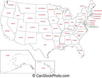mapa, contorno, estados unidos de américa