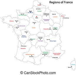 mapa, contorno, francia