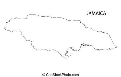 mapa, contorno, jamaica