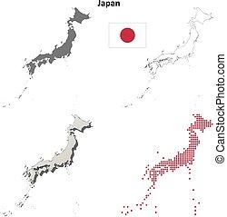 mapa, contorno, japón, conjunto