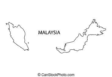 mapa, contorno, malasia