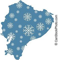 mapa, copos de nieve, ecuador
