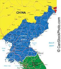 mapa, coréia, norte