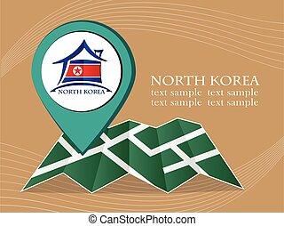 mapa, coréia, norte, ilustração, bandeira, vetorial, ponteiro