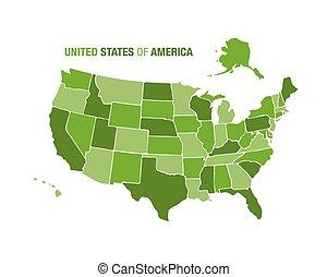 mapa cor, verde, ilustração, eua