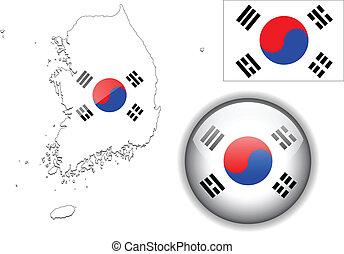 mapa, corea, bandera, sur, brillante