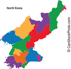 mapa, corea, norte, colorido