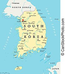 mapa, corea, político, sur