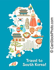 mapa, corea, tradicional, objetos, símbolos, coreano, sur,...