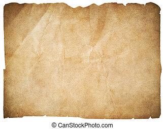 mapa, cortando, antigas, piratas, isolado, papel, em branco, caminho, ou