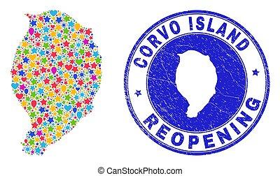 mapa, corvo, isla, mosaico, rasguñado, reopening, estampilla