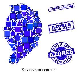 mapa, corvo, sellos, azul, geométrico, isla, mosaico