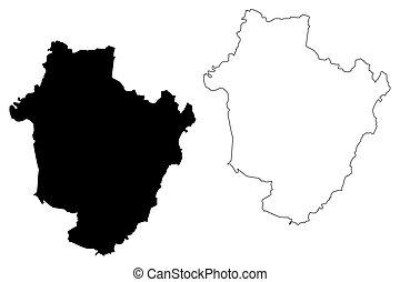 mapa, counties), húngaro, bihar), ilustración, bosquejo, ...