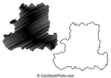 mapa, counties), húngaro, ilustración, csongrad, (hungary, ...