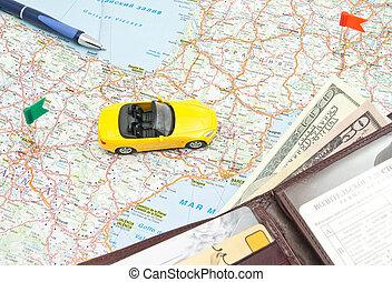 mapa, couro, amarela, carteira, caneta, car
