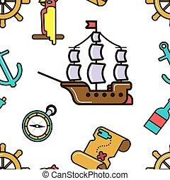 mapa, crianças, tesouro, padrão, aventuroso, pirata,...