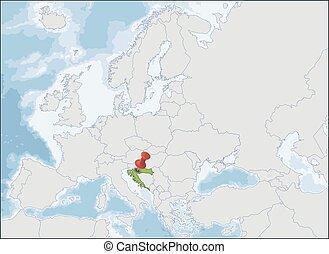 mapa, croacia, europa, ubicación, república