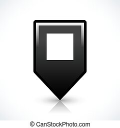 mapa, cuadrado, alfiler, señal, negro, ubicación, blanco, icono