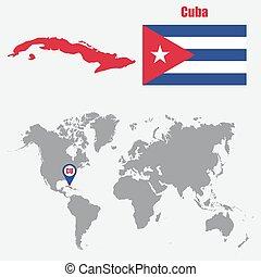 mapa, cuba, ilustração, bandeira, vetorial, pointer., mundo
