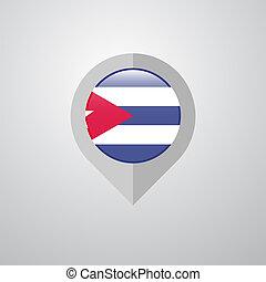 mapa, cuba, ponteiro, bandeira, vetorial, desenho, navegação