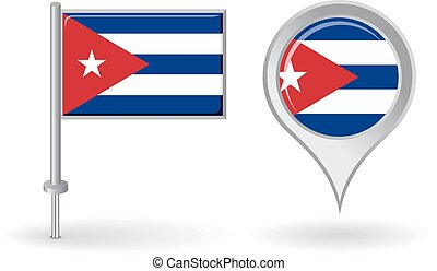 mapa, cubano, alfinete, flag., vetorial, ponteiro, ícone
