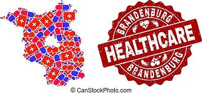 mapa, cuidados de saúde, colagem, brandenburg, estado, selo, mosaico, textured