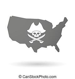 mapa, czaszka, usa, odizolowany, wektor, pirat, ikona