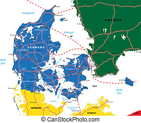 mapa, dánsko