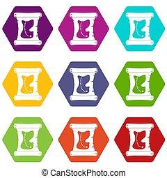 mapa, dát, barva, hexahedron, poklad, ikona