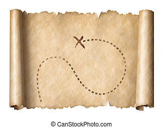 mapa, dávný, patiskař, poklad, příznakový, usedlost, svitek