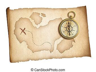 mapa, dávný, poklad, osamocený, dosah, drzost, neposkvrněný