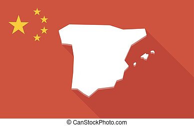 mapa, długi, bandera, porcelana, cień, hiszpania
