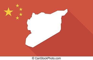 mapa, długi, bandera, porcelana, syria, cień