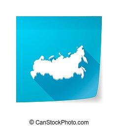 mapa, długi, lepki, nuta, Wektor, cień, Rosja, Ikona