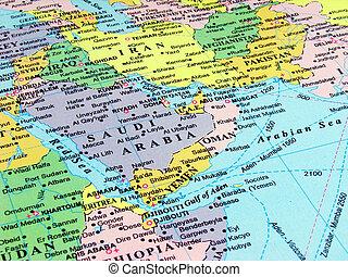 mapa, de, árabe, península