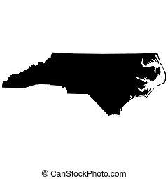 mapa, de, a, eua., estado, de, carolina norte