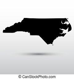 mapa, de, a, eua., estado, de, norte, carolina.