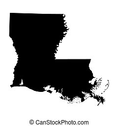 mapa, de, a, eua., estado louisiana