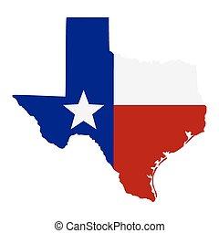mapa, de, a, eua., estado texas