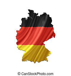 mapa, de, alemania, con, bandera ondeante