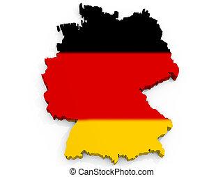 mapa, de, alemania, con, bandera, república federal alemania