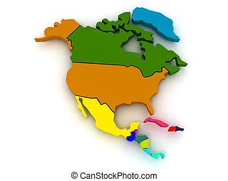 mapa, de, américa norteña