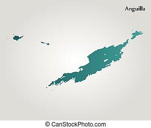 mapa, de, anguilla