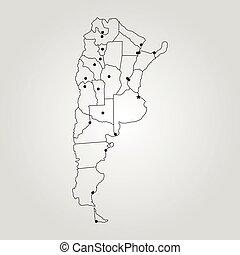 mapa, de, argentina