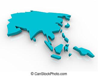mapa, de, asia, -, azul