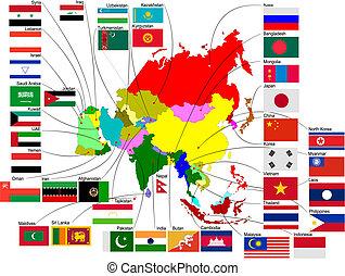 mapa, de, asia, con, país, flags., vector, ilustración