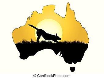 mapa, de, austrália, com, dingo