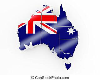 mapa, de, australia, en, bandera australiana, colores